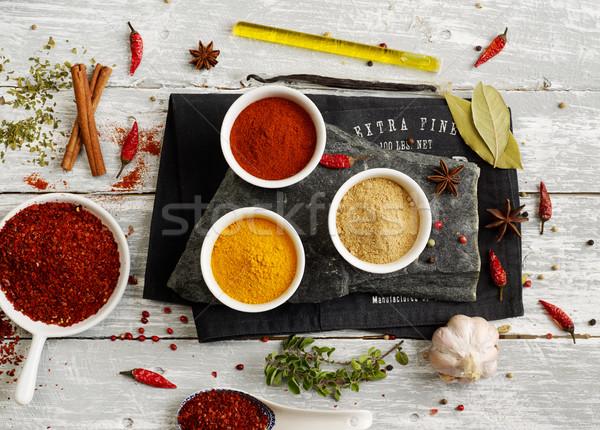 Stockfoto: Specerijen · kruiden · variatie · zaad · fotografie · zout