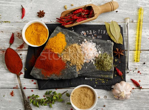 Stockfoto: Kruiden · specerijen · variatie · zaad · fotografie · zout