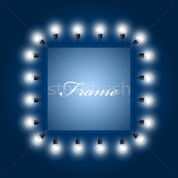 Frame of luminous light bulbs - theatre poster Stock photo © gomixer
