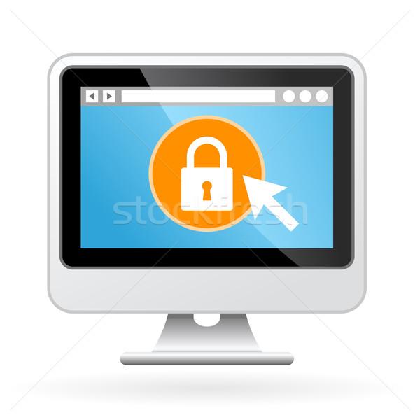 Számítógép ikon lakat képernyő biztonság weboldal Stock fotó © gomixer