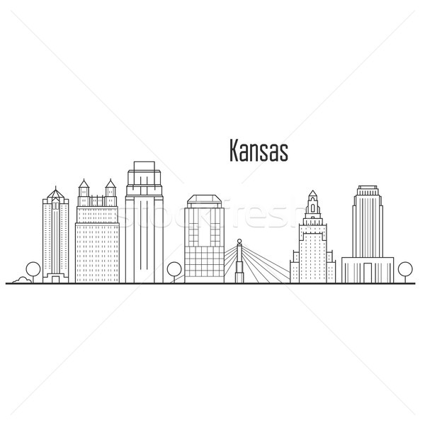 Kansas city skyline - downtown cityscape, city landmarks in line Stock photo © gomixer