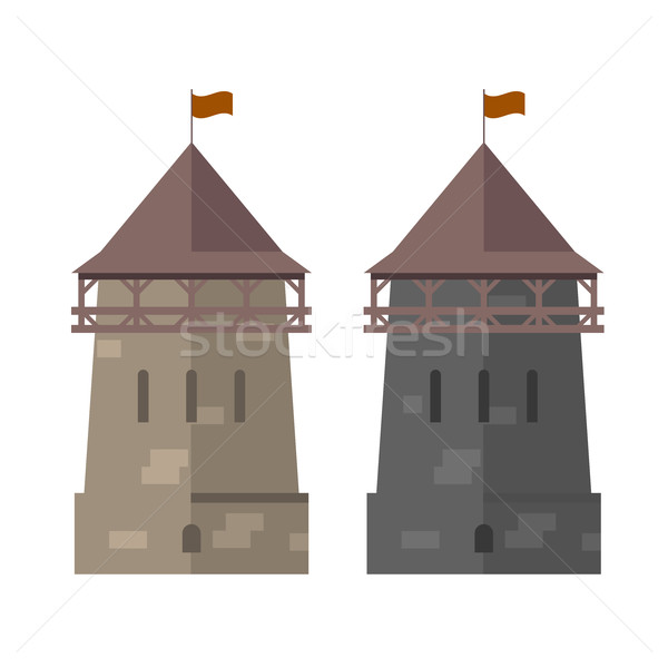 Medieval tower of fortified wall - stronghold Stock photo © gomixer