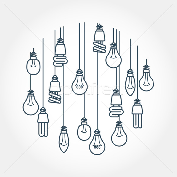 Circle of light bulb hanging on cords Stock photo © gomixer