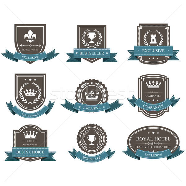 Emblems and badges with crowns and ribbons - award Stock photo © gomixer