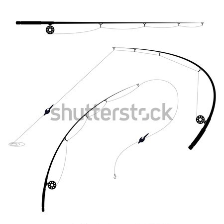 Fishing rods with spool and hook - bent and straight  Stock photo © gomixer