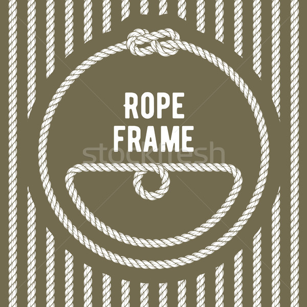 Retro round rope frame with knot on stripy background Stock photo © gomixer