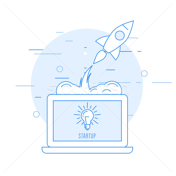 Launch of new business - sturtup beginning as rocket takeoff Stock photo © gomixer