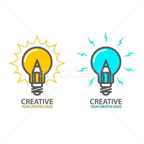 Symbol of creative idea - light bulb icon, design concept Stock photo © gomixer