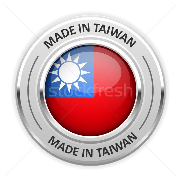 Silver medal Made in Taiwan with flag Stock photo © gomixer