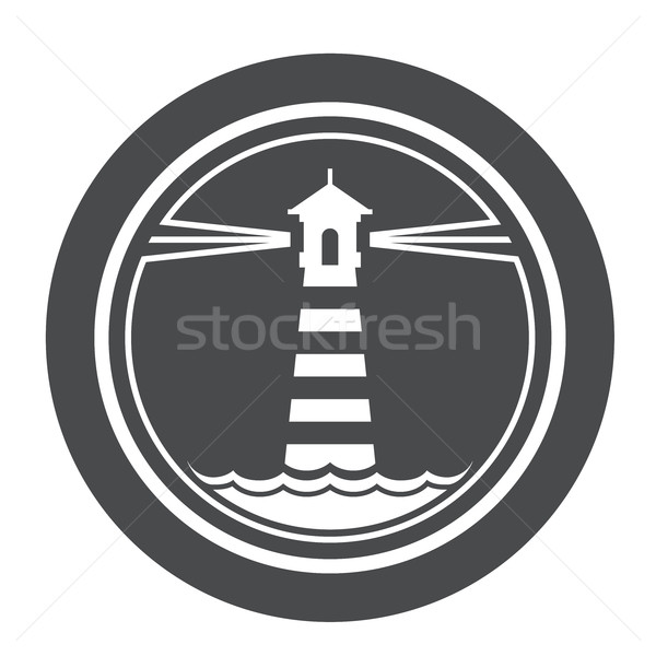 Maritime lighthouse icon with waves Stock photo © gomixer