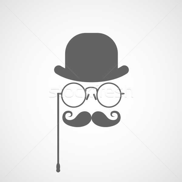 Silhouette of gentleman's face with twisted moustaches, bowler a Stock photo © gomixer
