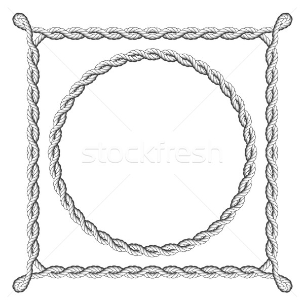 Twisted rope frames - round and square marine borders Stock photo © gomixer