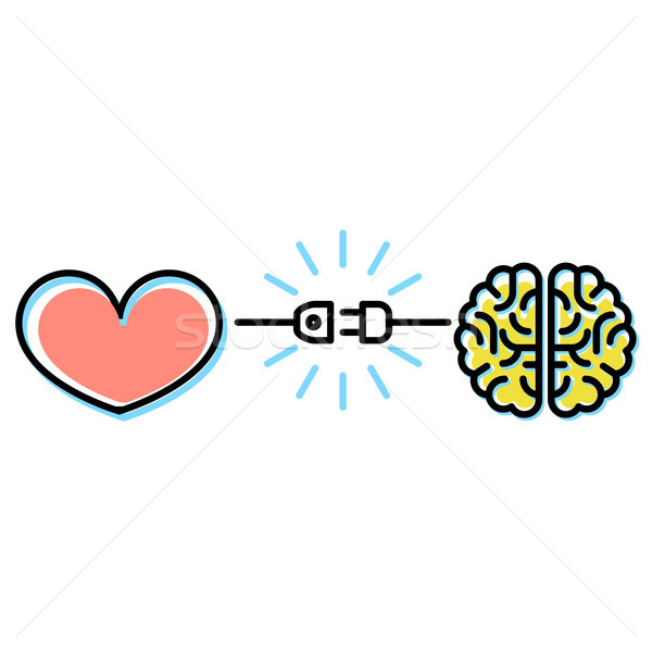 Heart and brain interactions concept - electric plug connection Stock photo © gomixer