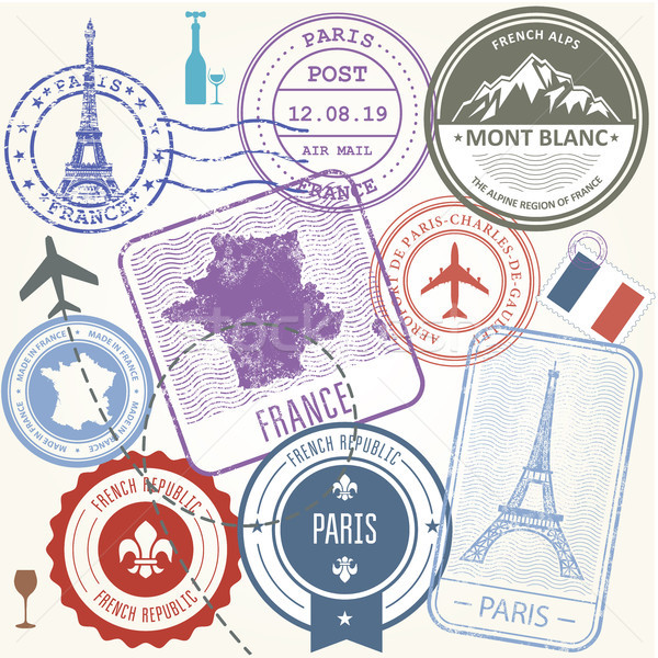 Travel stamps set - France and Paris journey symbols Stock photo © gomixer