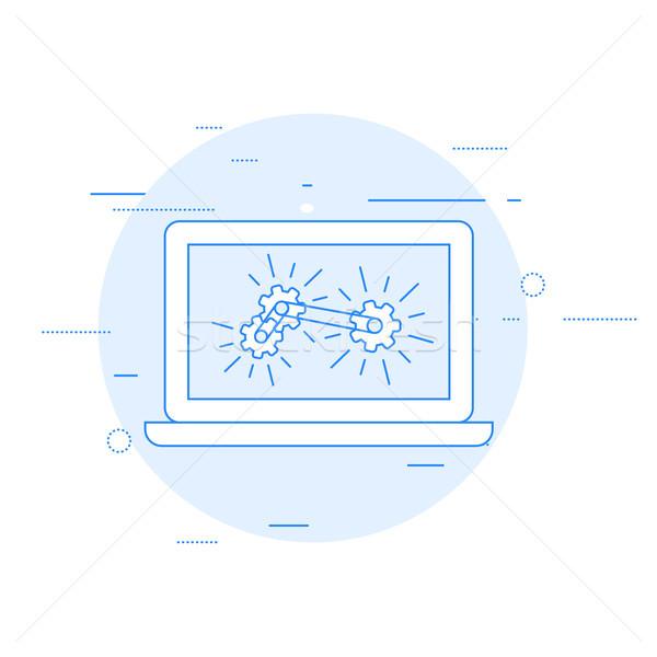 Laptop Gang Mechanismus Berechnung Analytik Stock foto © gomixer