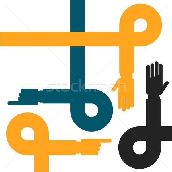 Stock photo: Hands on lines and loops - cooperation and help symbol