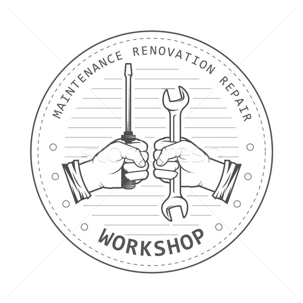 Repair service workshop emblem - hands with spanner and screwdri Stock photo © gomixer