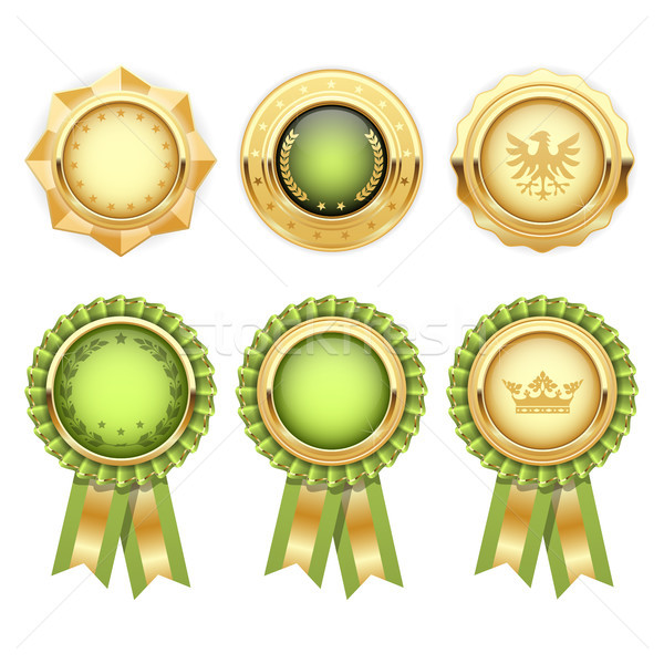 Green award rosettes with gold heraldic medal templates Stock photo © gomixer
