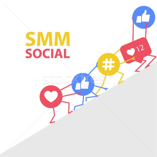 Promóció társasági marketing ikonok szív hálózat Stock fotó © gomixer