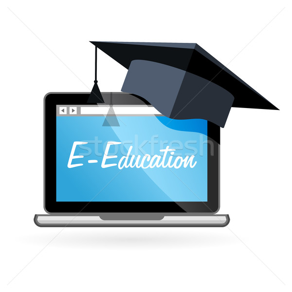 Distance learning - laptop and academic hat, e-education  Stock photo © gomixer