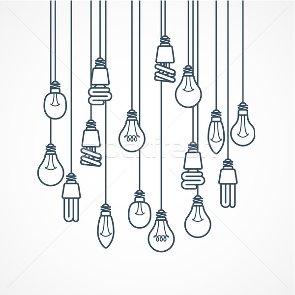 Light bulb hanging on cords - lamps Stock photo © gomixer