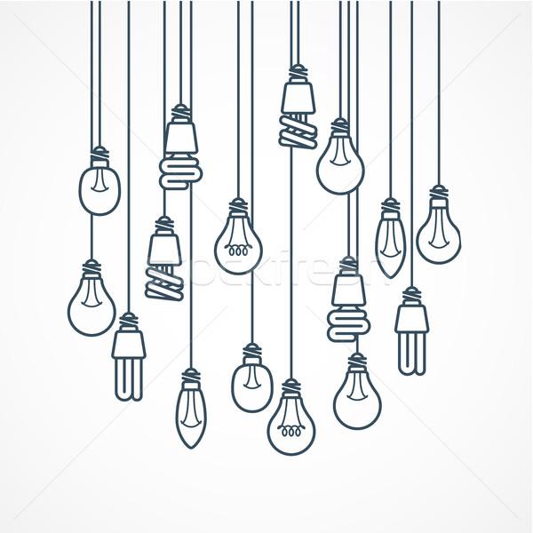 żarówka wiszący lampy świetle moc elektrycznej Zdjęcia stock © gomixer