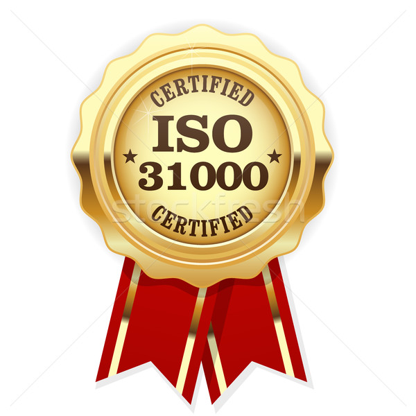 ISO 31000 standard certified rosette - risk management Stock photo © gomixer