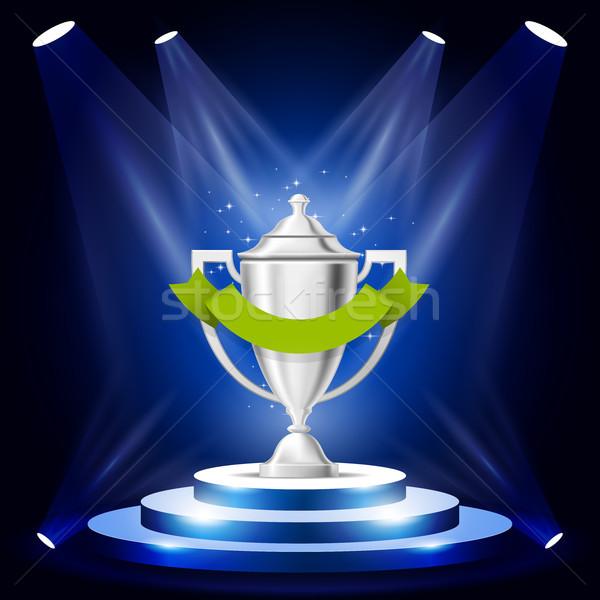 Illuminated sport cup on podium - winner award ceremony stage, p Stock photo © gomixer