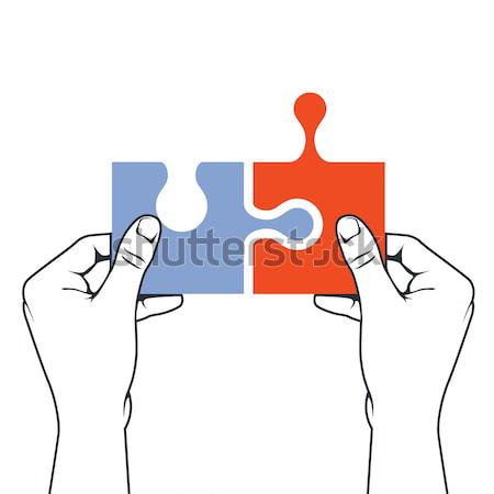 Four hands joining puzzle piece - association and merger concept Stock photo © gomixer
