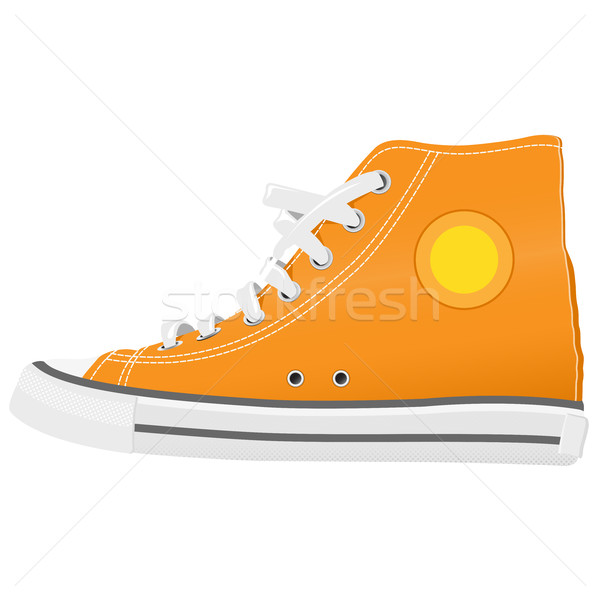 Running shoes with white shoelaces, side view Stock photo © gomixer