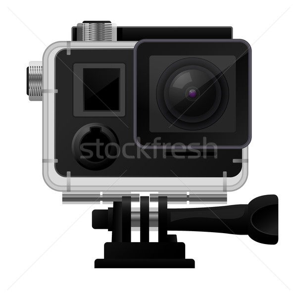 Action camera in waterproof case - sport cam icon Stock photo © gomixer