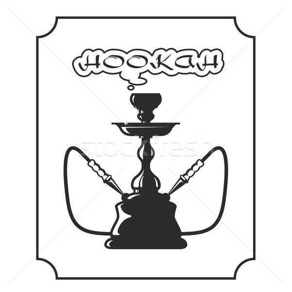 Vízipipa társalgó címke embléma bár Stock fotó © gomixer