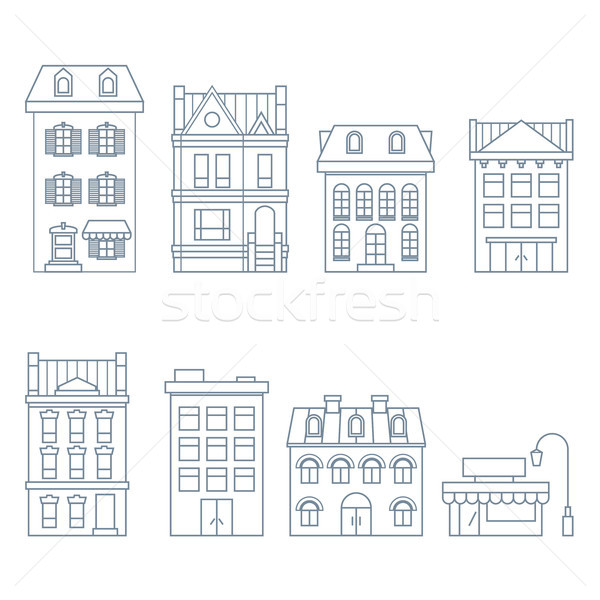 Buildings and houses in european style - townhouse, condo and ho Stock photo © gomixer