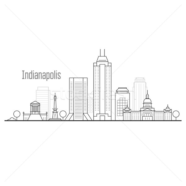 Indianapolis city skyline - downtown cityscape, towers and landm Stock photo © gomixer