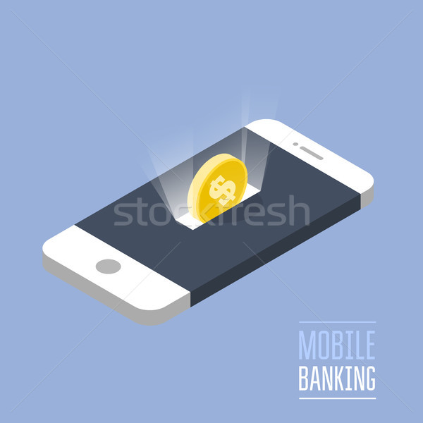 Mobile payment - isometric smartphone and coin as moneybox Stock photo © gomixer