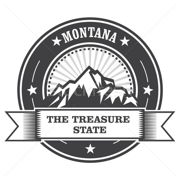 Montana montagnes trésor tampon étiquette neige Photo stock © gomixer