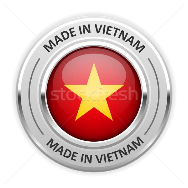 Gümüş madalya Vietnam bayrak pin etiket Stok fotoğraf © gomixer