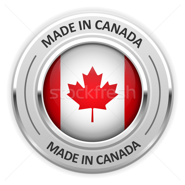 Silver medal Made in Canada with flag Stock photo © gomixer
