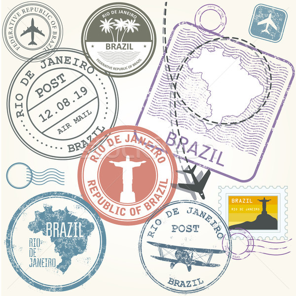 Travel stamps set - Brazil and Rio de Janeiro journey Stock photo © gomixer