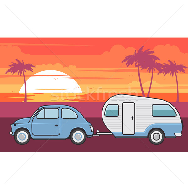 Retro car with camper trailer - summer vacation journey Stock photo © gomixer