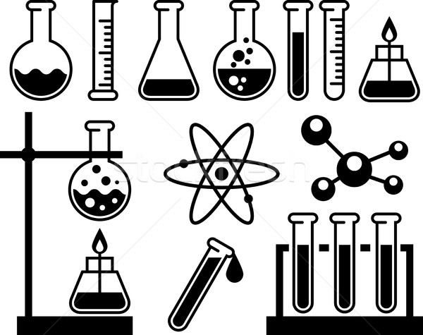 Chemical laboratory equipment - test tubes, flasks and measuring Stock photo © gomixer