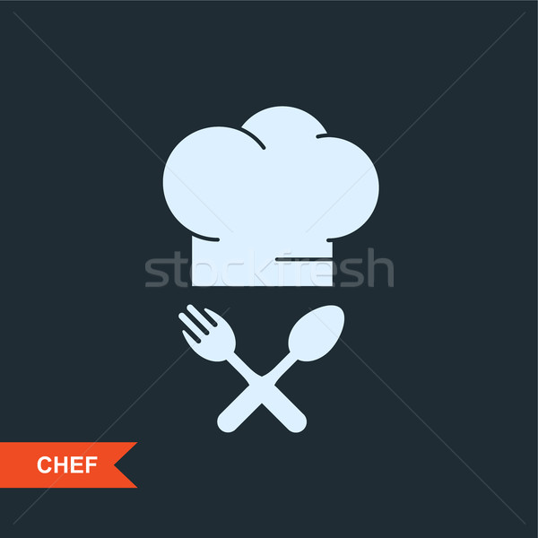Cook's hat and crossed fork and spoon - restaurant emblem Stock photo © gomixer