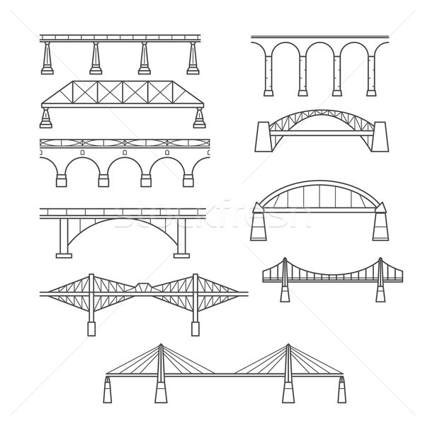 Types of bridges in linear style set - infographic icon of bridg Stock photo © gomixer
