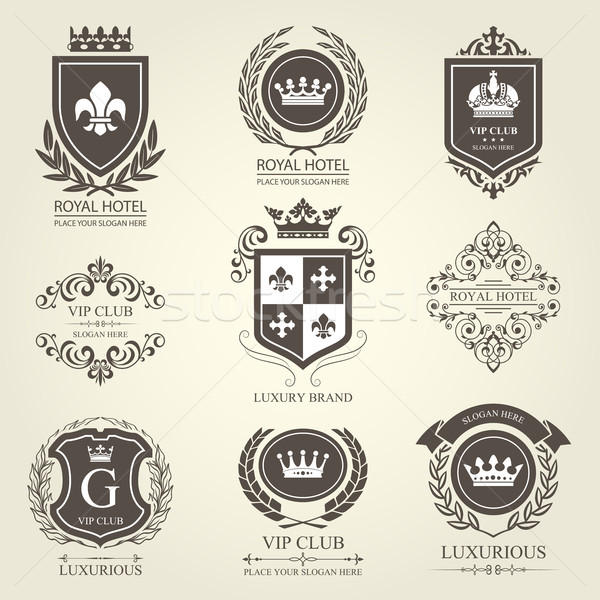 Luxurious heraldic emblems and badges with shields and crowns Stock photo © gomixer