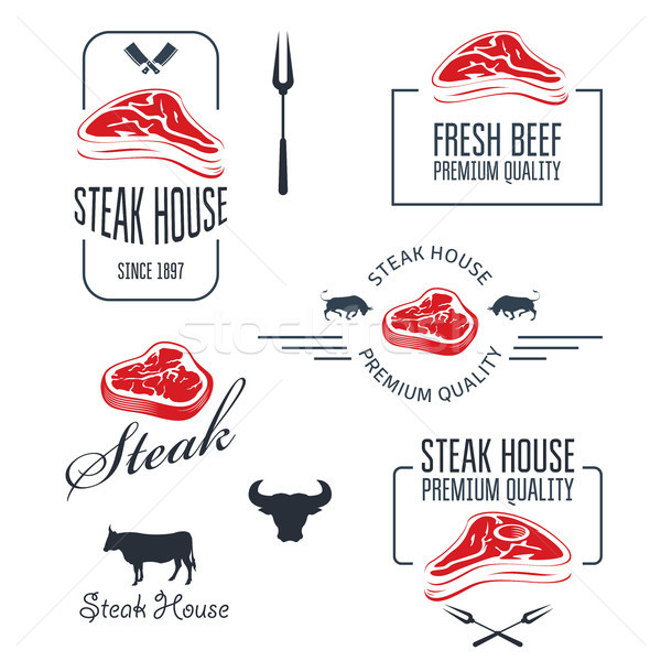 Steak house or butchery - meat store labels and emblems Stock photo © gomixer