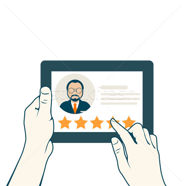 Leave a client's review - customer assessment of service, tablet Stock photo © gomixer