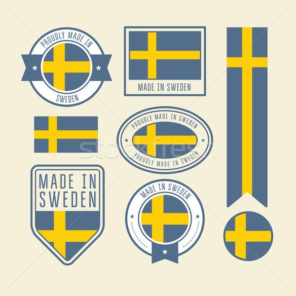Etiketler İsveç bayrak rozetler Stok fotoğraf © gomixer