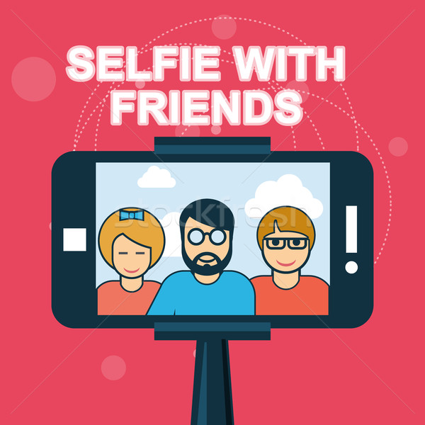 Selfie with friends - smartphone on selfie stick Stock photo © gomixer