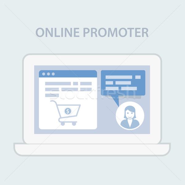 Stronie chat wsparcie koszyk online napomknąć Zdjęcia stock © gomixer