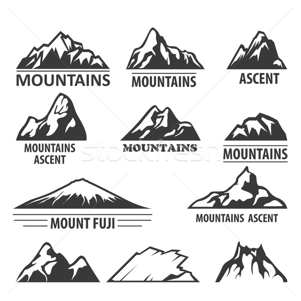 Mountain peaks emblems - alpinism and ascent symbols Stock photo © gomixer